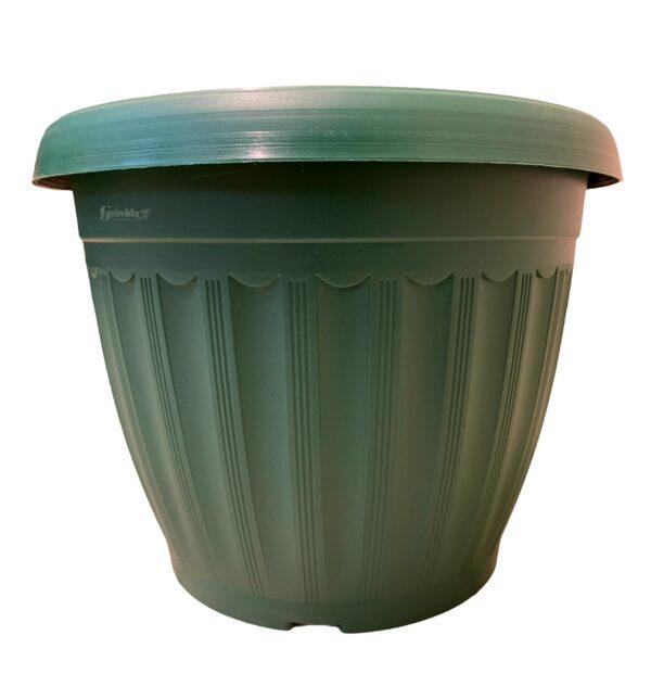 Round plastic planter 25cm by 19cm – Green